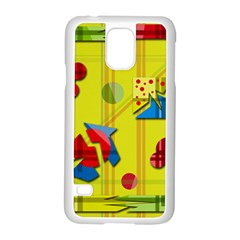 Playful day - yellow  Samsung Galaxy S5 Case (White)