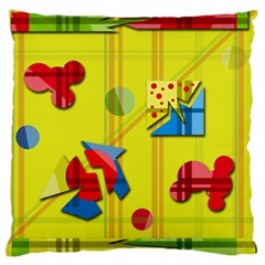 Playful day - yellow  Large Flano Cushion Case (Two Sides)