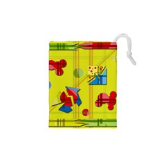 Playful day - yellow  Drawstring Pouches (XS)