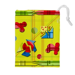 Playful day - yellow  Drawstring Pouches (Extra Large)