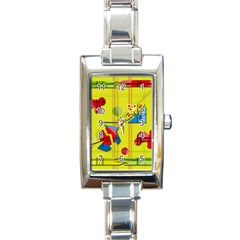 Playful day - yellow  Rectangle Italian Charm Watch