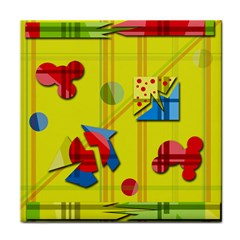 Playful day - yellow  Tile Coasters