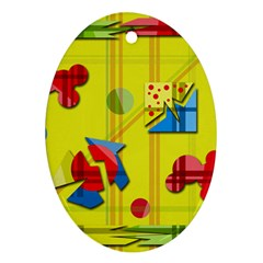 Playful day - yellow  Ornament (Oval)