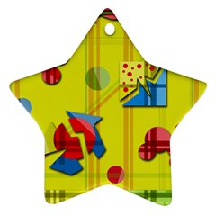 Playful day - yellow  Ornament (Star)