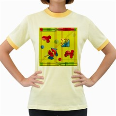Playful day - yellow  Women s Fitted Ringer T-Shirts