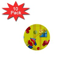 Playful day - yellow  1  Mini Buttons (10 pack)