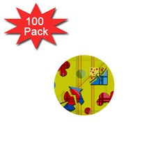Playful day - yellow  1  Mini Buttons (100 pack)
