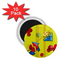 Playful day - yellow  1.75  Magnets (10 pack)