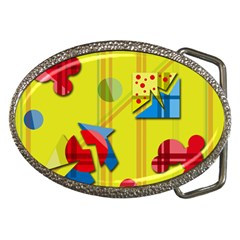 Playful day - yellow  Belt Buckles