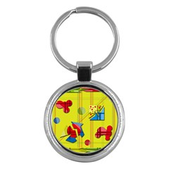Playful day - yellow  Key Chains (Round)