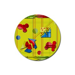 Playful day - yellow  Rubber Coaster (Round)