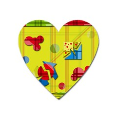 Playful day - yellow  Heart Magnet