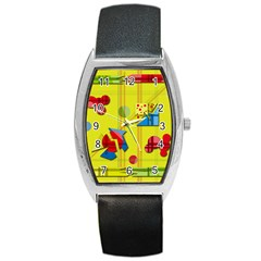 Playful day - yellow  Barrel Style Metal Watch