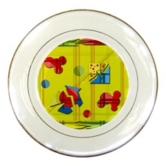 Playful day - yellow  Porcelain Plates