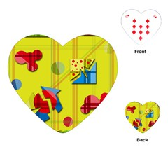 Playful day - yellow  Playing Cards (Heart)