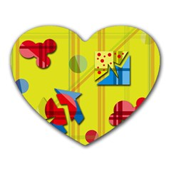 Playful day - yellow  Heart Mousepads