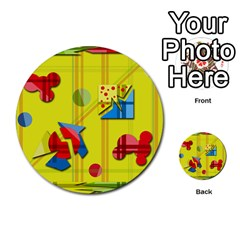 Playful day - yellow  Multi-purpose Cards (Round)