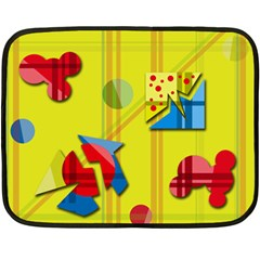 Playful day - yellow  Double Sided Fleece Blanket (Mini)