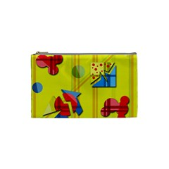 Playful day - yellow  Cosmetic Bag (Small)