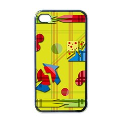 Playful day - yellow  Apple iPhone 4 Case (Black)