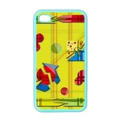 Playful day - yellow  Apple iPhone 4 Case (Color)