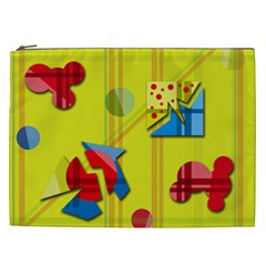 Playful day - yellow  Cosmetic Bag (XXL)