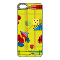 Playful day - yellow  Apple iPhone 5 Case (Silver)