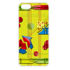 Playful day - yellow  Apple iPhone 5 Seamless Case (White)
