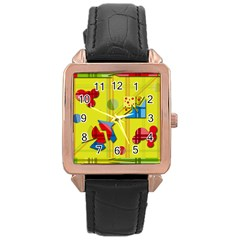 Playful day - yellow  Rose Gold Leather Watch
