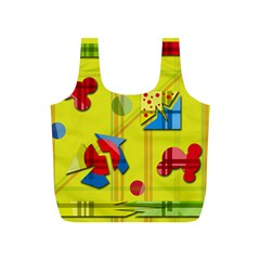 Playful day - yellow  Full Print Recycle Bags (S)