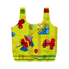 Playful day - yellow  Full Print Recycle Bags (M)