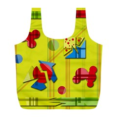 Playful day - yellow  Full Print Recycle Bags (L)