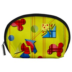 Playful day - yellow  Accessory Pouches (Large)