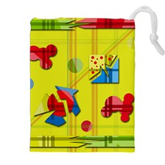 Playful day - yellow  Drawstring Pouches (XXL)