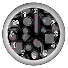 Come down - magenta Wall Clocks (Silver)