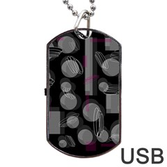 Come down - magenta Dog Tag USB Flash (One Side)