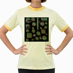 Come down - green Women s Fitted Ringer T-Shirts