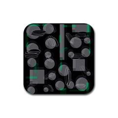 Come down - green Rubber Coaster (Square)