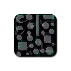 Come down - green Rubber Square Coaster (4 pack)