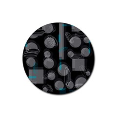 Come down - blue Rubber Round Coaster (4 pack)