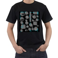 Come down - blue Men s T-Shirt (Black) (Two Sided)