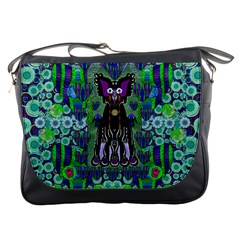 Lady Draccula With Flower Ghost And Love Messenger Bags