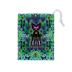Lady Draccula With Flower Ghost And Love Drawstring Pouches (medium)