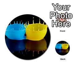 Bicolor Paintink Drop Splash Reflection Blue Yellow Black Multi Purpose Cards (round)