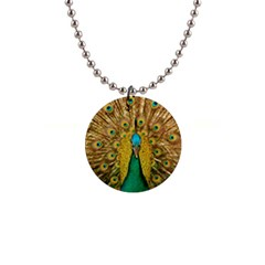 Bird Peacock Feathers Button Necklaces