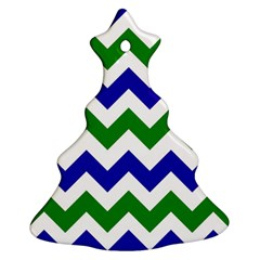 Blue And Green Chevron Pattern Christmas Tree Ornament (2 Sides)
