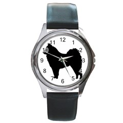 Eurasier Silo Black Round Metal Watch