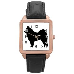 Eurasier Silo Black Rose Gold Leather Watch
