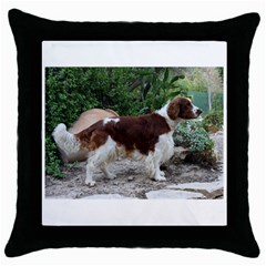 Welsh Springer Spaniel Full Throw Pillow Case (Black)