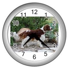 Welsh Springer Spaniel Full Wall Clocks (Silver)